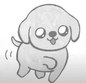 דף צביעה כלב חמוד שמח