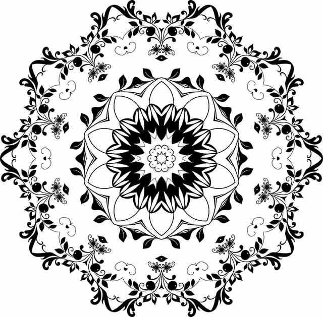 דף צביעה מנדלה פרח עגול
