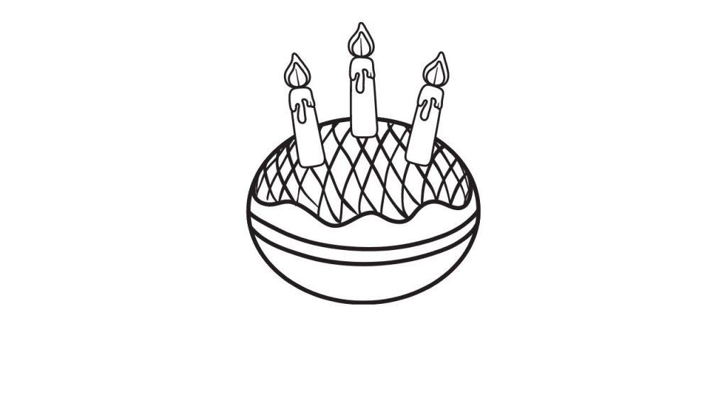 דף צביעה סופגניה עם נרות