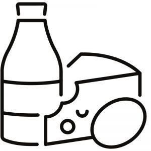 דף צביעה מוצרי חלב