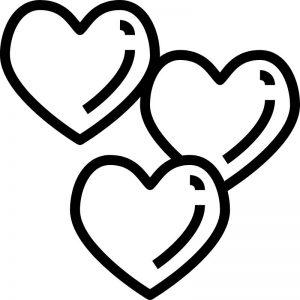 דף צביעה שלושה לבבות